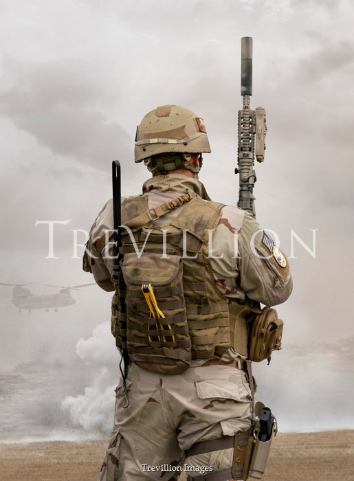Stephen Mulcahey Rear view of an american special, forces operative