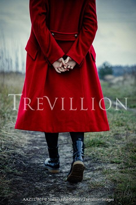 Natasza Fiedotjew woman in red coat walking in countryside Women