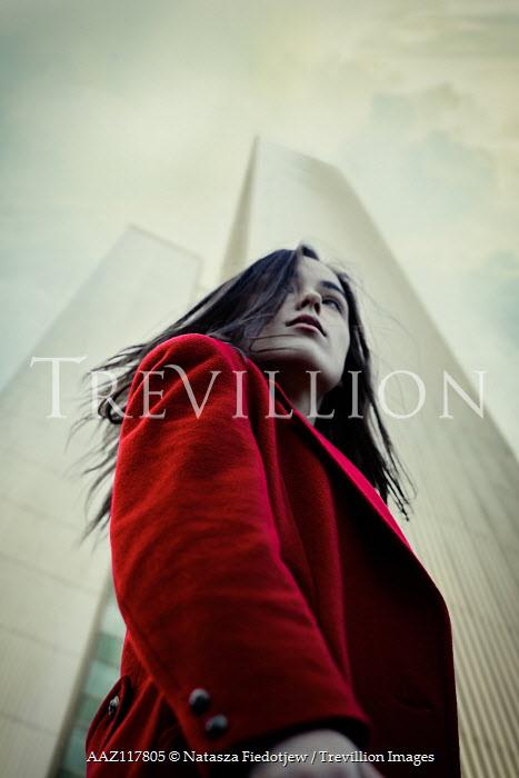 Natasza Fiedotjew WOMAN IN RED COAT IN CITY FROM BELOW Women