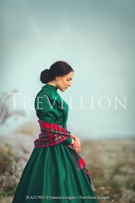 Joanna Czogala HISTORICAL WOMAN WITH PLAID SHAWL IN COUNTRYSIDE Women