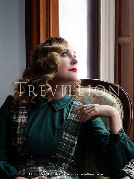 Elisabeth Ansley BLONDE WOMAN SITTING IN CHAIR BY WINDOW Women