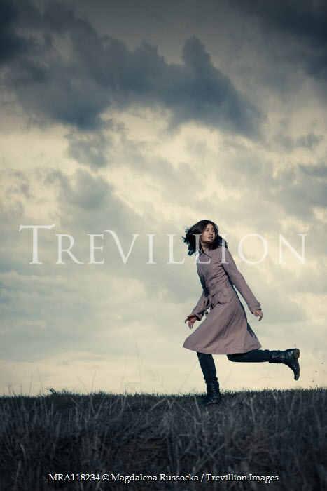 Magdalena Russocka teenage girl running in field
