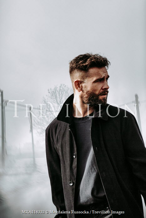 Magdalena Russocka close up of modern man in suburbs in winter