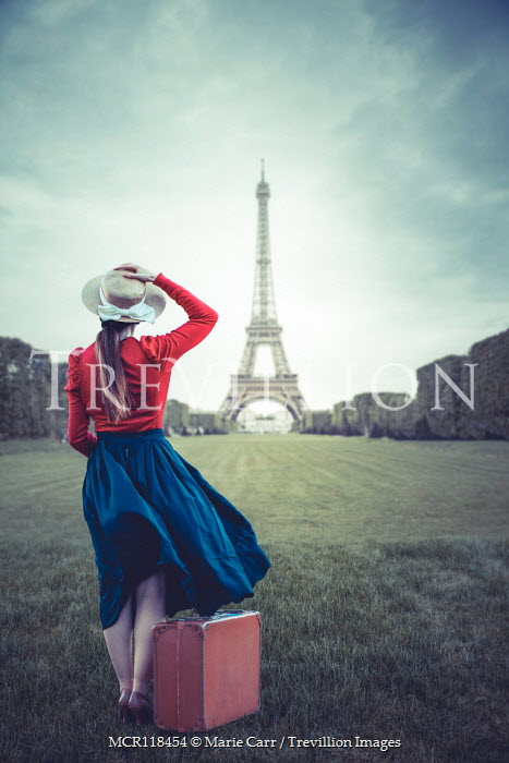Marie Carr GIRL WITH SUITCASE WATCHING EIFFEL TOWER Women