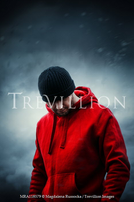 Magdalena Russocka close up of modern man in red hoodie outside