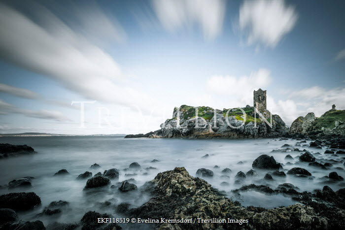 Evelina Kremsdorf RUINED CASTLE ON ROCKS BY MISTY SEA Miscellaneous Buildings