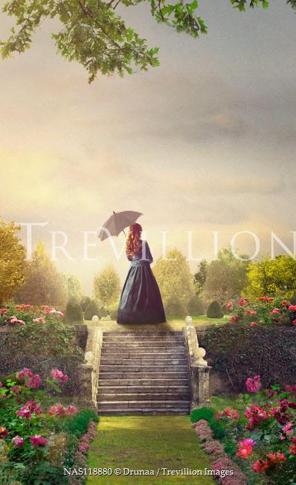 Drunaa historical woman on steps in garden Women