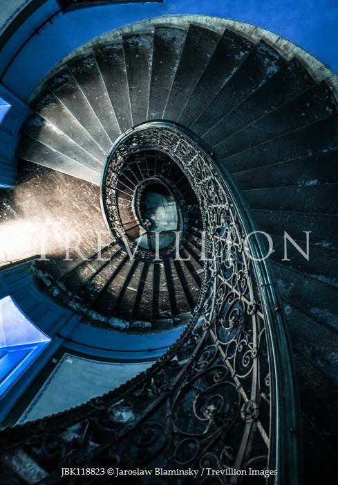 Jaroslaw Blaminsky OLD WROUGHT IRON STAIRCASE FROM ABOVE Stairs/Steps