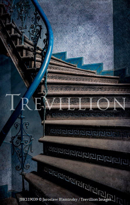 Jaroslaw Blaminsky EMPTY DECORATIVE STAIRCASE WITH BLUE WROUGHT IRON Stairs/Steps