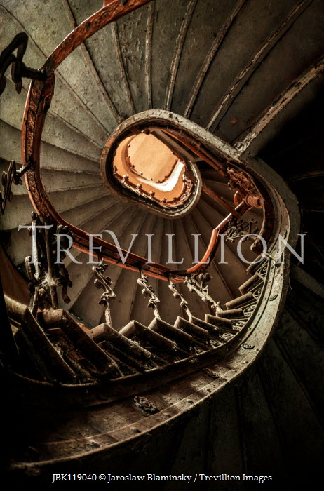 Jaroslaw Blaminsky OLD SPIRAL STAIRCASE FROM BELOW Stairs/Steps