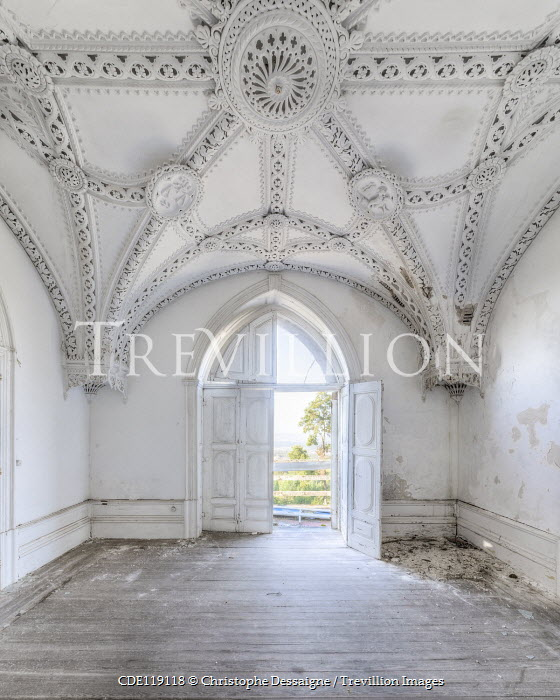 Christophe Dessaigne WHITE ORNATE INTERIOR OF ABANDONED PALACE Interiors/Rooms