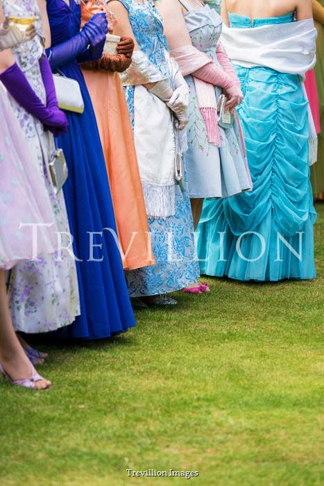 Colin Hutton LINE OF RETRO WOMEN IN DRESSES IN GARDEN Groups/Crowds