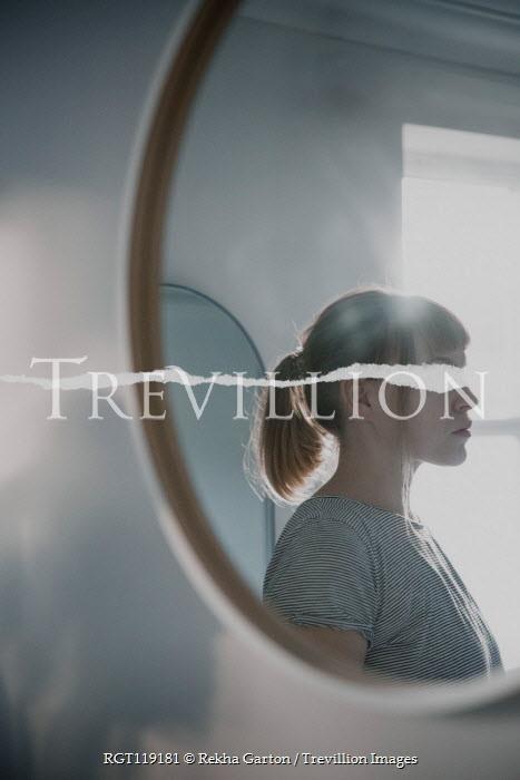 Rekha Garton REFLECTION OF WOMAN IN MIRROR WITH TEAR Women