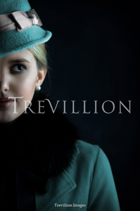 Ildiko Neer Beautiful blonde retro woman in blue hat