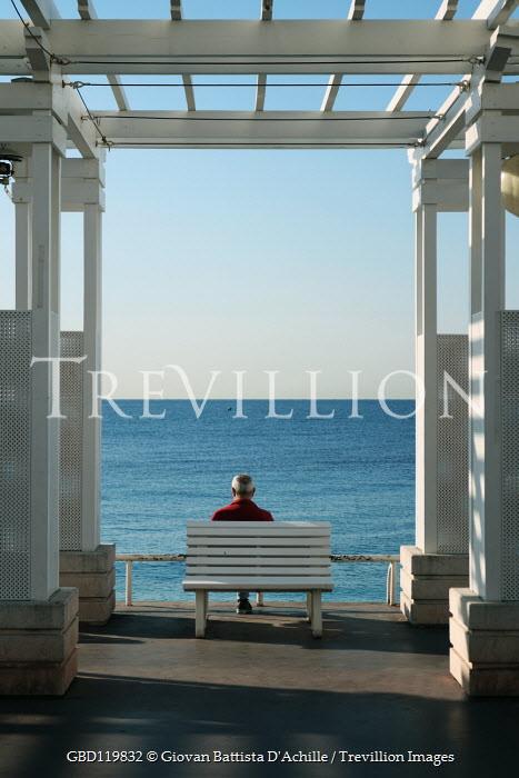 Giovan Battista D'Achille MAN SITTING ON BENCH WATCHING SEA Old People