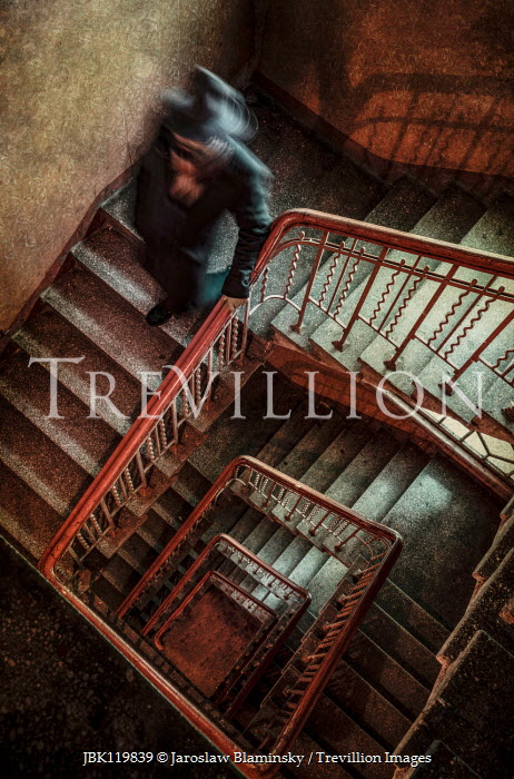 Jaroslaw Blaminsky MAN IN HAT DESCENDING STAIRCASE FROM ABOVE Men