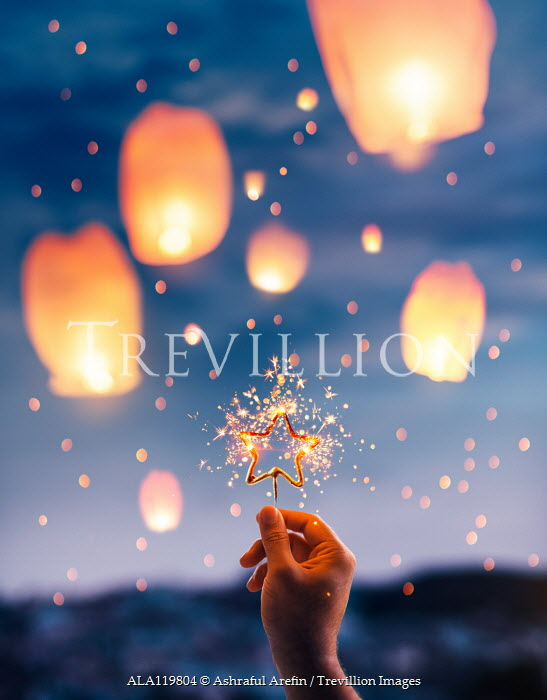 Ashraful Arefin HAND HOLDING SPARKING STAR WITH FLOATING LANTERNS Men