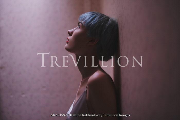 Anna Rakhvalova WORRIED WOMAN WITH BLUE HAIR IN PROFILE Women