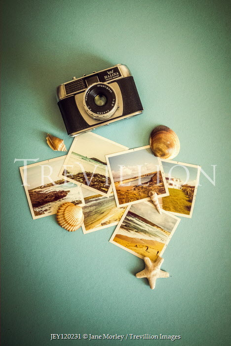 Jane Morley RETRO CAMERA WITH SEASHELLS AND PHOTOGRAPHS Miscellaneous Objects