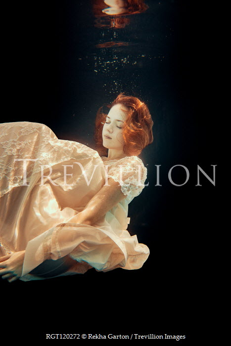 Rekha Garton WOMAN WITH RED HAIR AND WHITE DRESS UNDERWATER Women