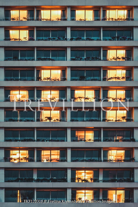 Evelina Kremsdorf LIGHTS GLOWING IN WINDOWS OF APARTMENT BLOCK Miscellaneous Buildings