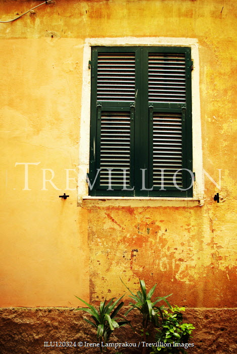Irene Lamprakou YELLOW HOUSE WITH CLOSED GEREEN SHUTTERS Building Detail