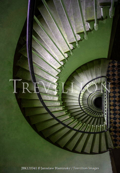 Jaroslaw Blaminsky GREEN SPIRAL STAIRCASE FROM ABOVE Stairs/Steps