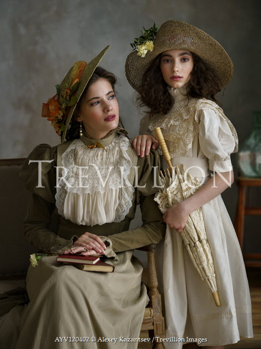 Alexey Kazantsev TWO EDWARDIAN GIRLS WITH BOOKS AND PARASOL Women