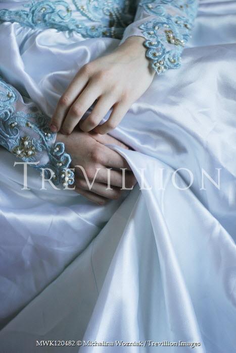 Michalina Wozniak HANDS OF WOMAN IN BLUE EMBROIDERED DRESS Women