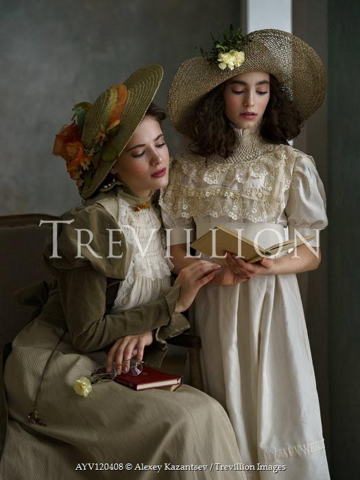 Alexey Kazantsev TWO EDWARDIAN GIRLS WITH BOOKS INDOORS Women