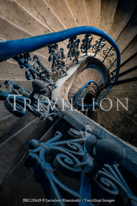 Jaroslaw Blaminsky Staircase with wrought iron railing from above