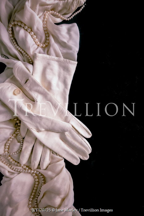 Jane Morley WHITE SILK SCARF PEARLS AND LEATHER GLOVES Miscellaneous Objects