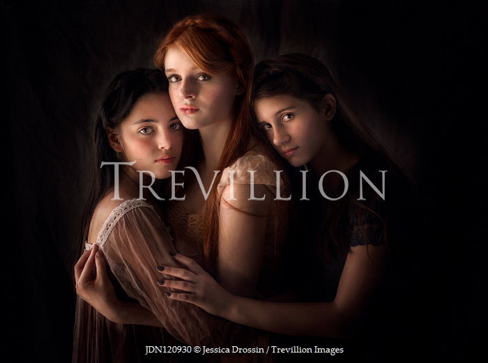 Jessica Drossin THREE YOUNG GIRLS HUGGING LOOKING AT CAMERA Groups/Crowds
