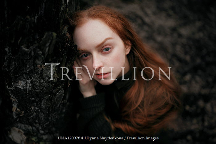 Ulyana Naydenkova SAD GIRL WITH RED HAIR BY TREE Women