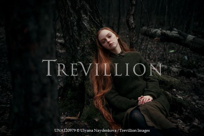 Ulyana Naydenkova SAD GIRL WITH RED HAIR SITTING BY TREE Women