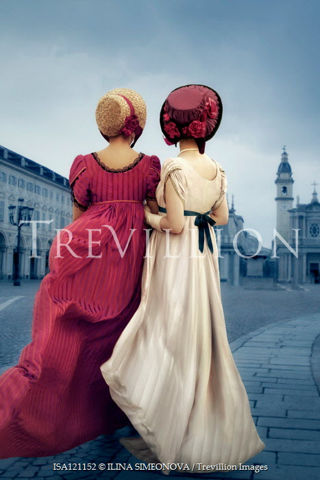ILINA SIMEONOVA Young women in regency dresses in city