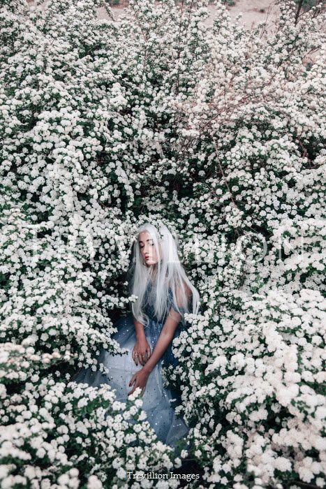 Jovana Rikalo Young woman in tree with white flowers