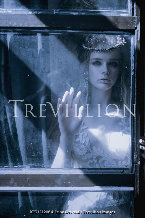 Irina Orwald WOMAN IN PEARLS AND LACE STANDING BEHIND WINDOW Women