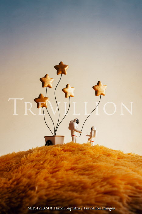 Hardi Saputra TWO SPACEMEN WITH STAR BALLOONS Miscellaneous Objects
