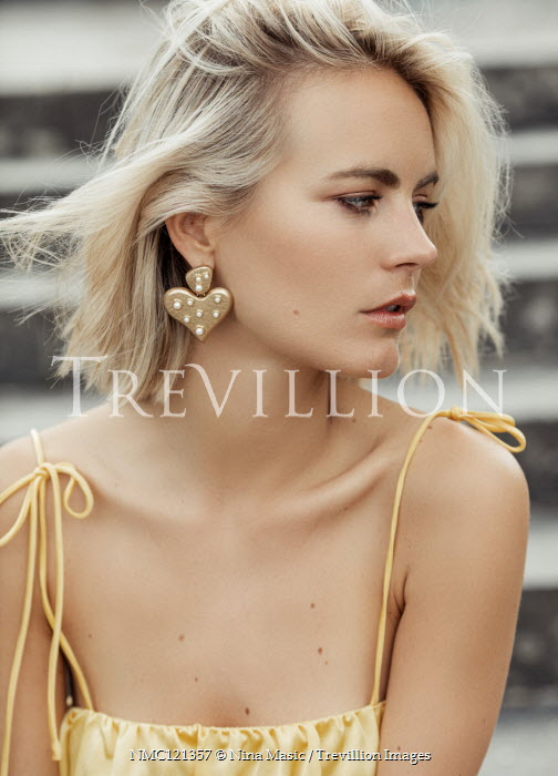 Nina Masic GIRL WITH SHORT BLONDE HAIR WITH GOLD EARRINGS Women
