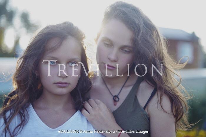 Anna Rakhvalova TWO SAD GIRLS OUTDOORS IN SUMMER Children
