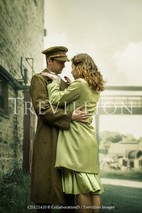 CollaborationJS WARTIME COUPLE EMBRACING BY BRIDGE Couples