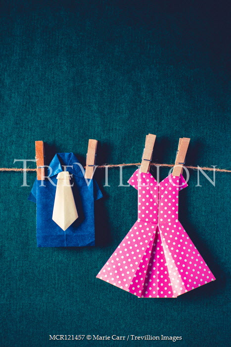 Marie Carr PAPER CLOTHES HANGING ON WASHING LINE Miscellaneous Objects