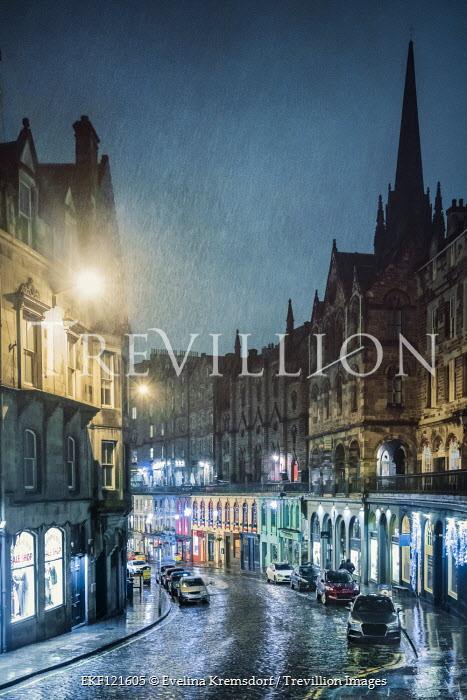 Evelina Kremsdorf Victoria Street on a rainy night in Edinburgh, Scotland