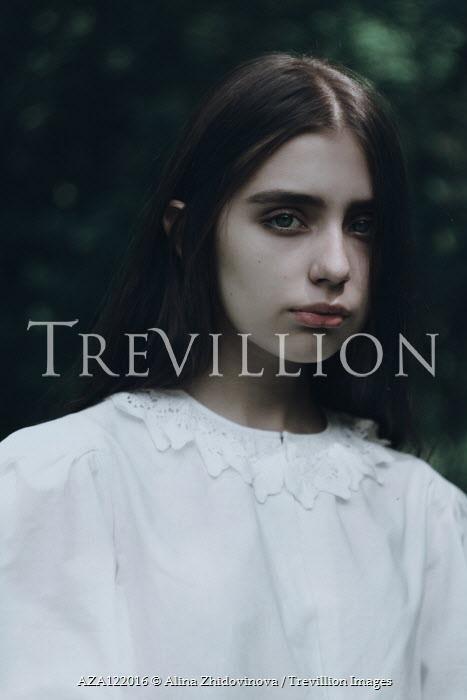 Alina Zhidovinova SERIOUS GIRL IN WHITE LACE DRESS OUTDOORS Children