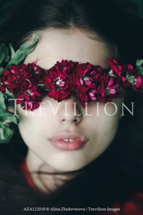 Alina Zhidovinova FLOWERS COVERING EYES OF GIRL WITH DARK HAIR Women
