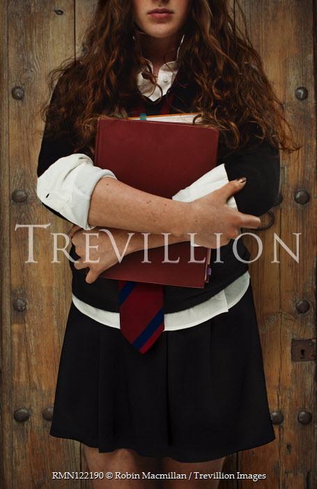 Robin Macmillan TEENAGE SCHOOLGIRL STANDING HOLDING BOOKS Children