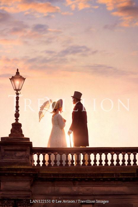 Lee Avison romantic regency couple at sunset