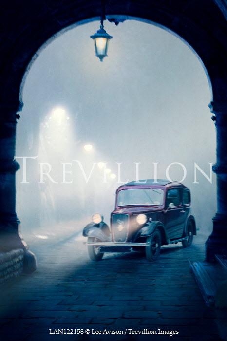 Lee Avison vintage 1940s car at night