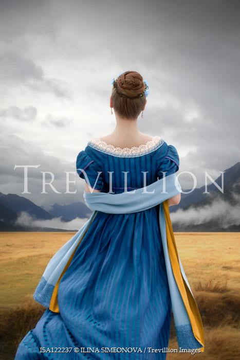 ILINA SIMEONOVA REGENCY WOMAN IN BLUE DRESS WATCHING MOUNTAINS Women